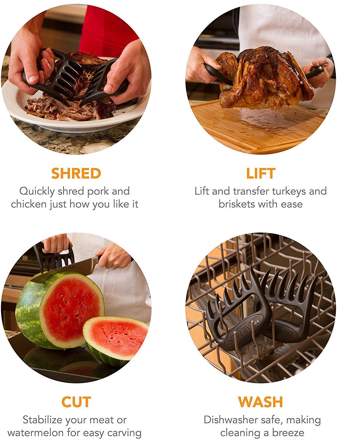Quality Nylon Coating is Heat Resistant Beef /& Hams Meat Handlers for Pork Kitchen Use Smoker Meat Claws + Timer Poultry Owd Claws Premium Meat Shredder Claws for BBQ