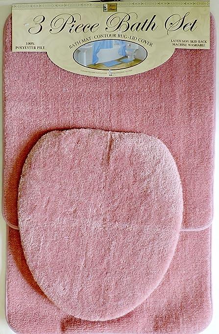 3 Piece Bath Rug Set Pink Bathroom Mat Contour Rug Lid Cover Non Slip Pink