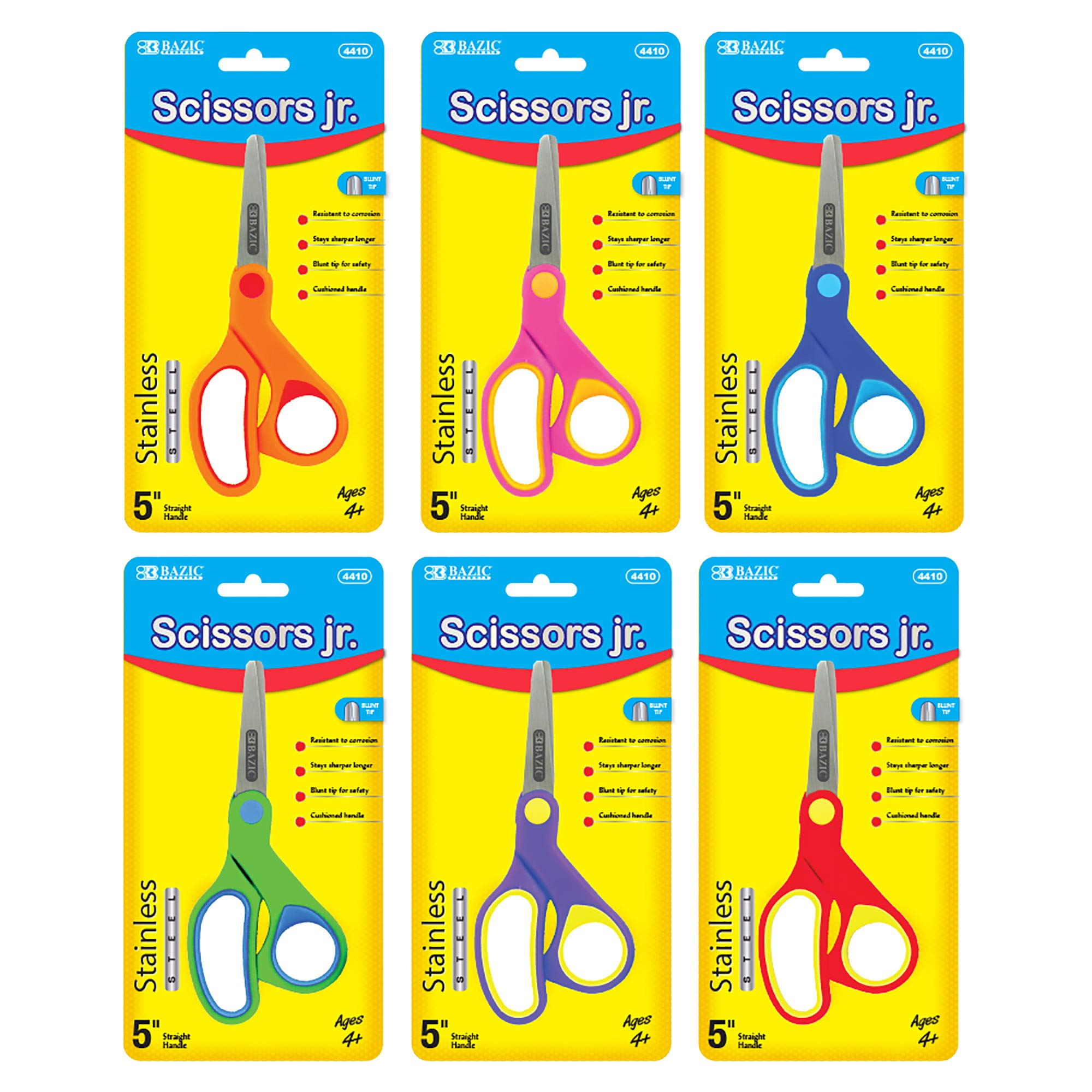BAZIC 5'' Soft Grip Blunt Tip Stainless Steel Scissors (Box of 24) by B BAZIC PRODUCTS