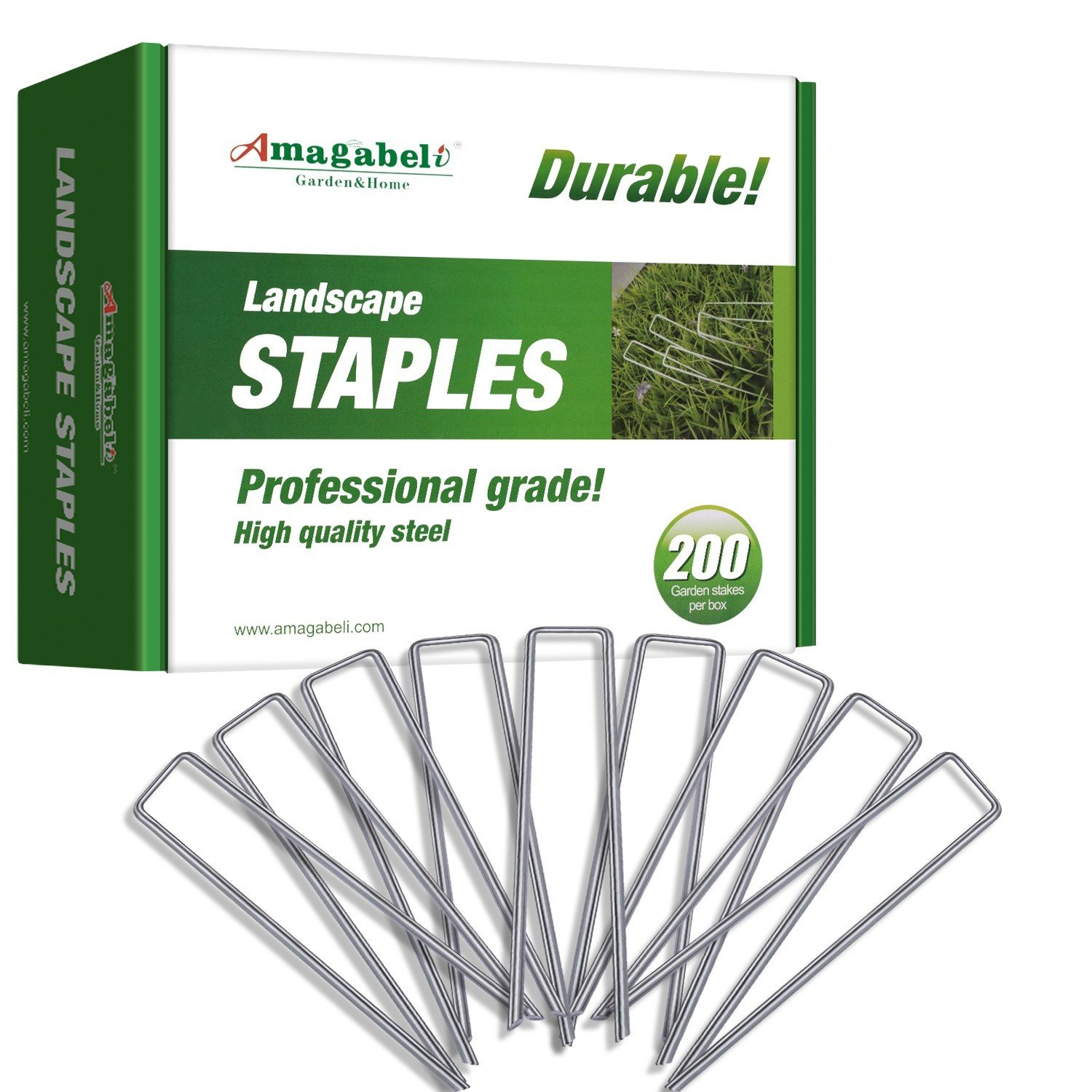 200 6 Inch Garden Stakes Galvanized Landscape Staples 11 Gauge Sod Pins Rust Proof Fence Stakes for Anchoring Landscape Weed Barrier Fabric Ground Cover Lawn Dripper Irrigation Tubing Soaker Hose