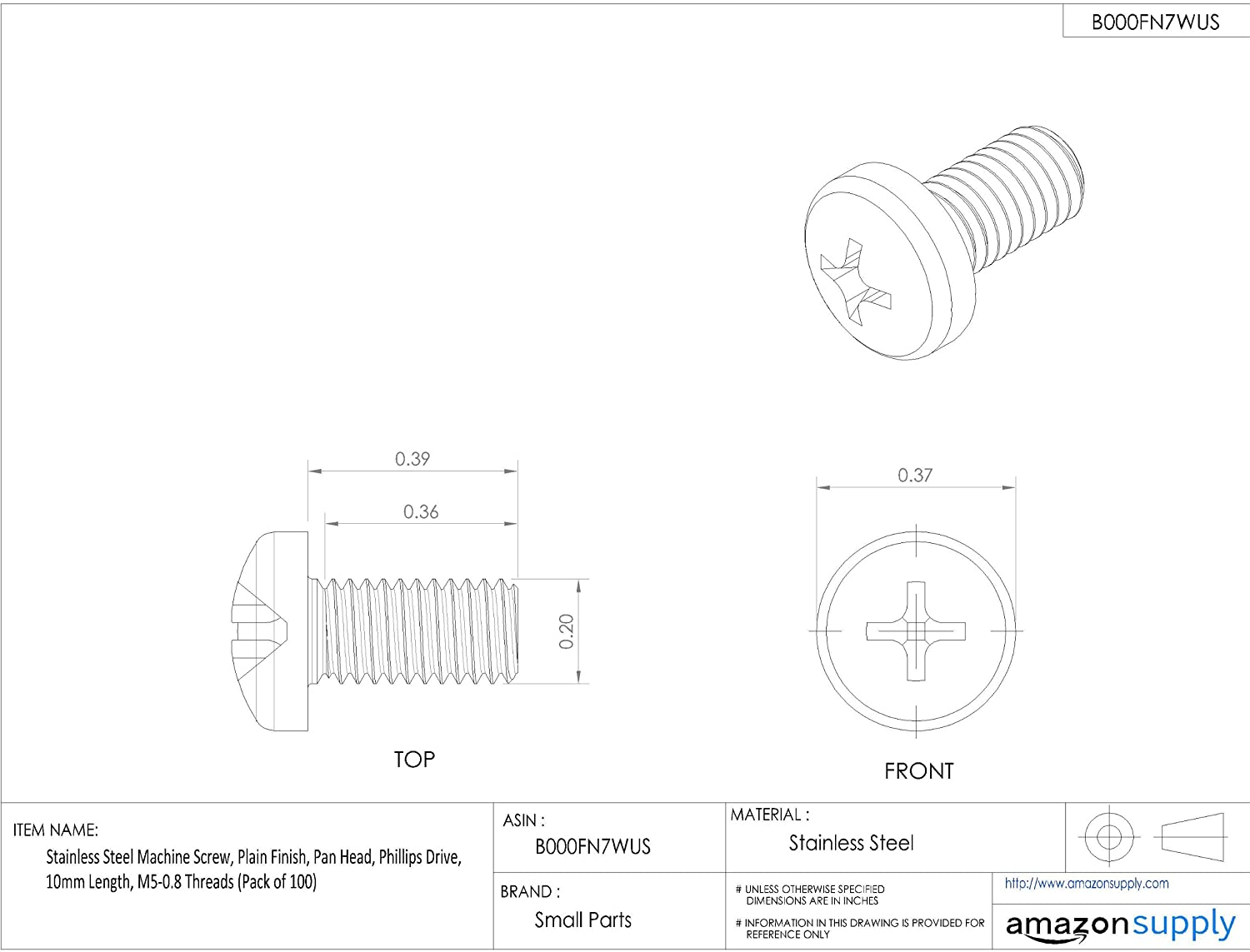 Pack of 100 Pan Head Plain Finish Stainless Steel Machine Screw 10mm Length M5-0.8 Metric Coarse Threads Phillips Drive