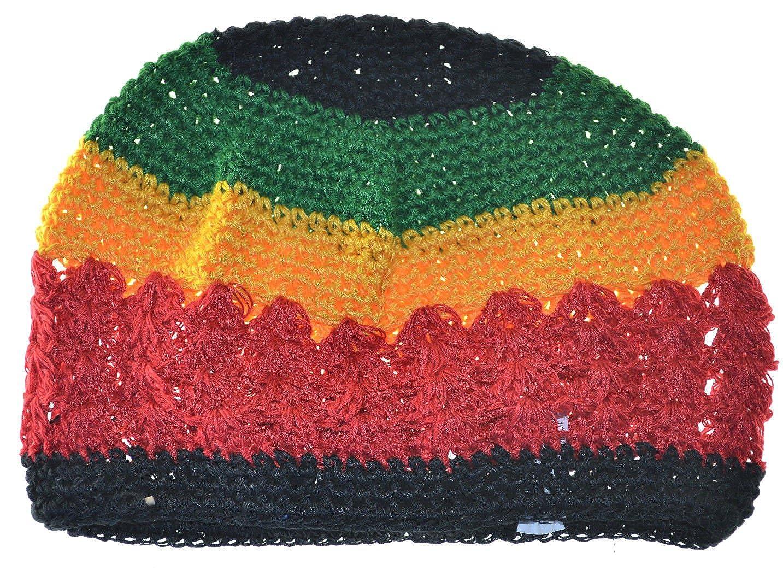 e7aec1261e6 Amazon.com  MM Kufi Hat Crochet Cap Rasta Beanie Black Red Yellow Green   Clothing
