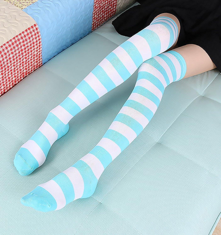 3 Pairs Womens Long Striped Socks Over Knee Thigh High Socks Stocking