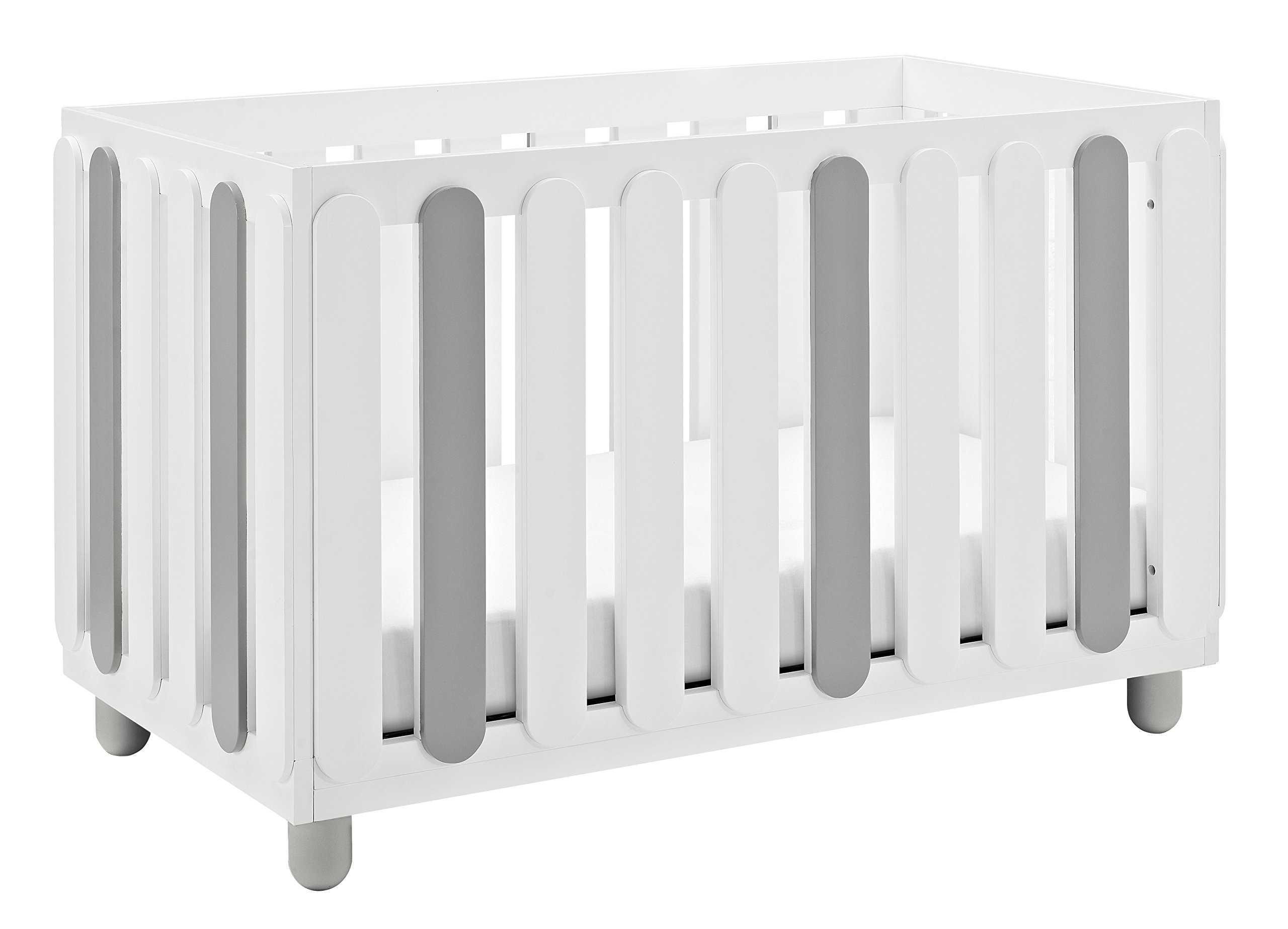 Storkcraft Sienna 3-in-1 Convertible Crib, White/Pebble Gray Easily Converts to Toddler Bed & Day Bed, 3-Position Adjustable Height Mattress by Storkcraft