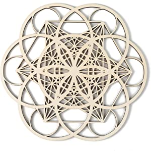Simurg Seed of Life Metatron's Cube Crystal Grid Wooden Wall Decor Wooden Wall Sculpture for Home, Office, Yoga Studio (Seed of life metatron cube, 11.5 Inch (29CM))