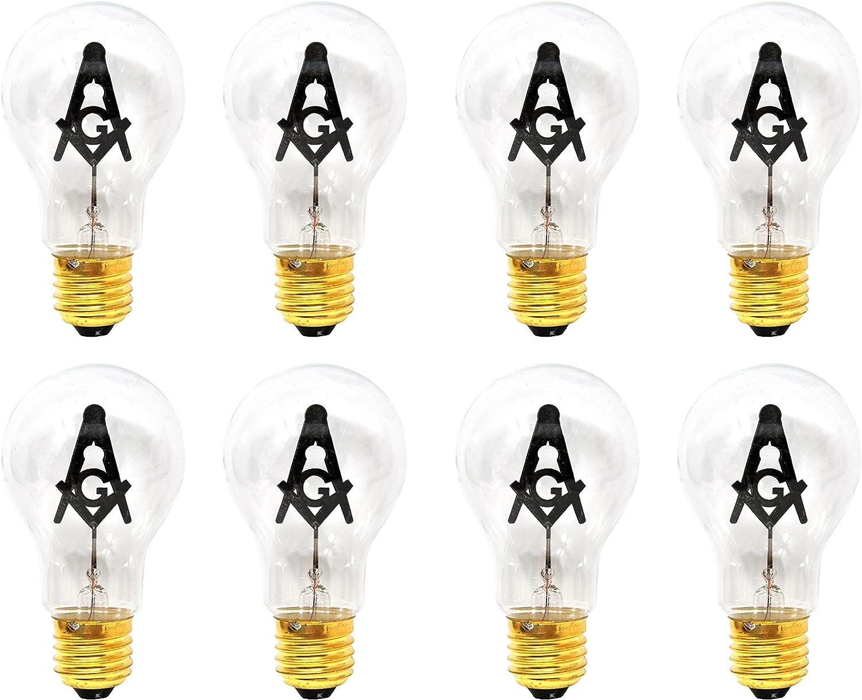 Mandala Crafts E27 3W Freemason Masonic Square and Compasses Emblem Symbol Altar Decor Lodge Light Bulb (Standard Base, 8 Bulbs)
