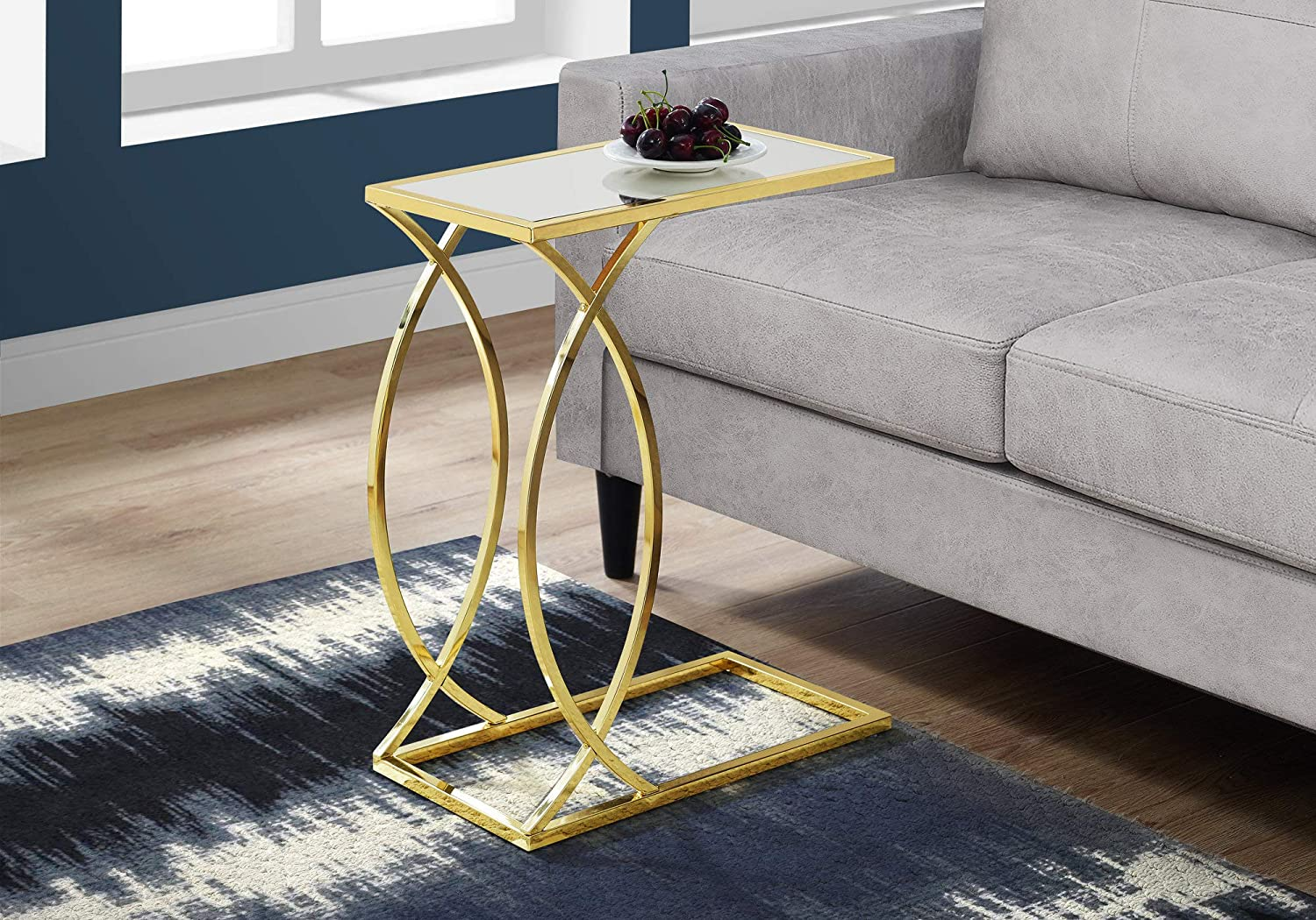 Mirror Top withGold Metal Monarch Specialties Accent Table