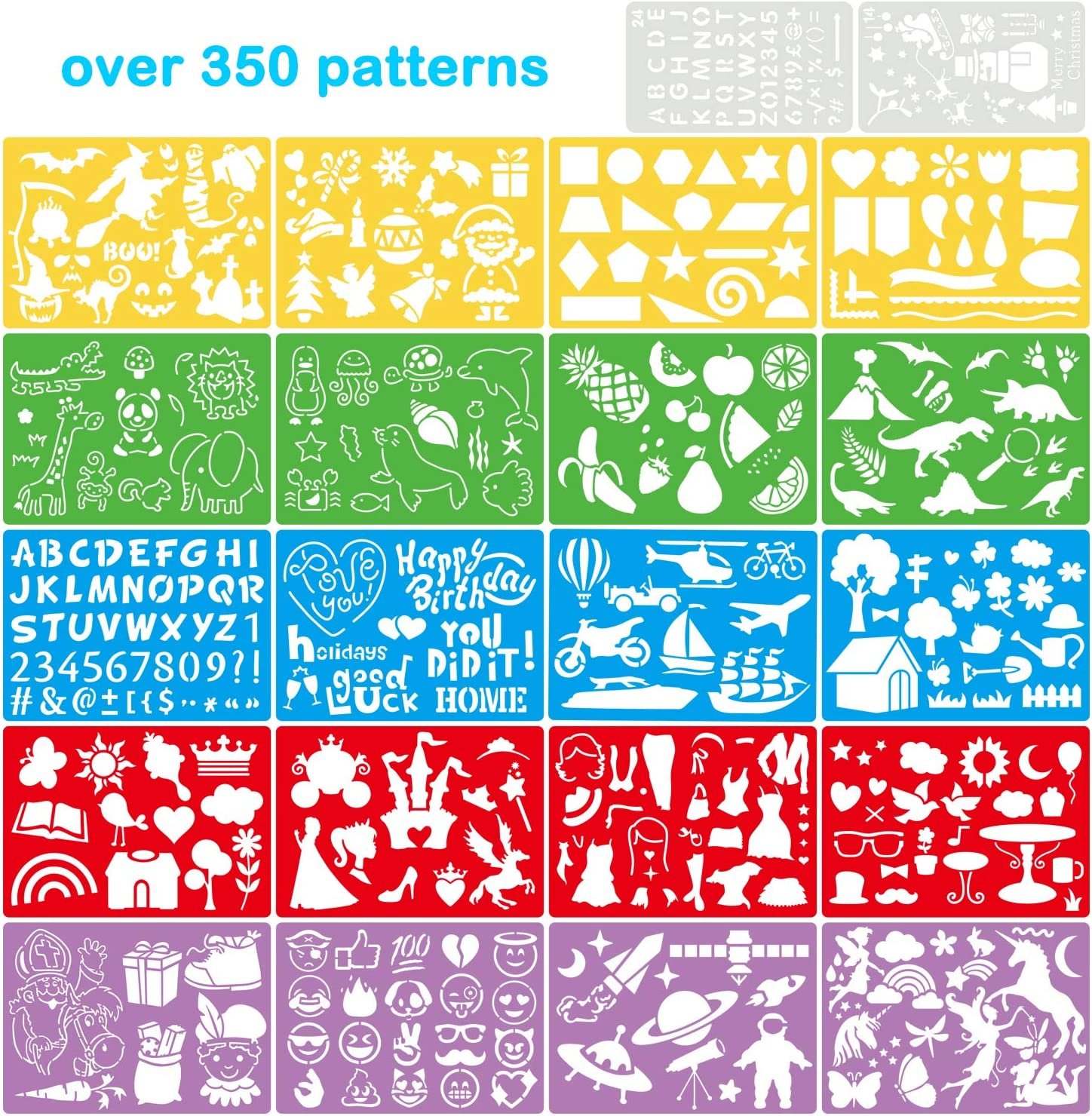Over 350 Different Patterns six Colors of Template for Kids Gift,Washable 22 Pcs Drawing Painting Stencils for Kids