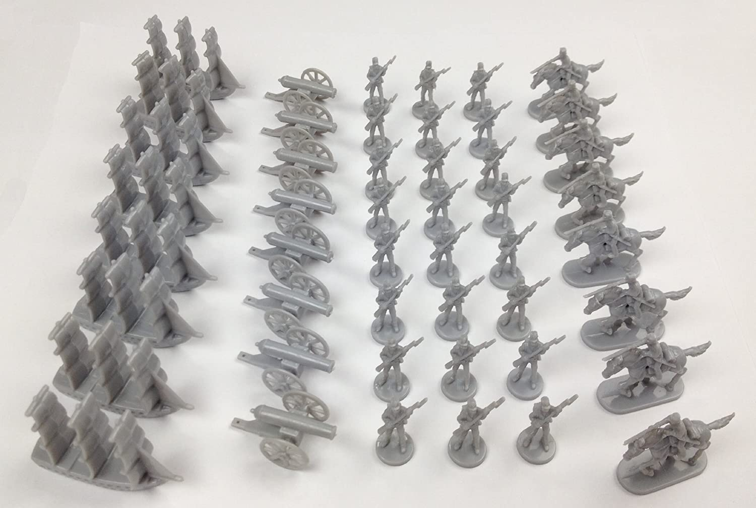 Napoleonic & Civil War Military Miniatures (Grey): Plastic Toy Soldiers Set: Infantry, Cavalry, Artillery, Ships