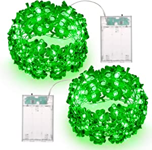 BrizLabs 2 Pack St.Patrick's Day Shamrock String Lights, 17.06ft 50 LED Green Lucky Clover String Light, Battery Powered Silver Wire String Lights for St.Patrick's Day Irish Day Party Home Decor