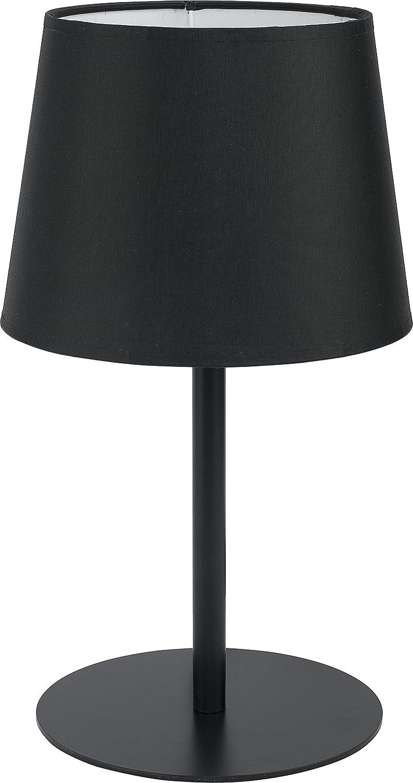 Lámpara de mesa pantalla de tela negro estructura de metal ...