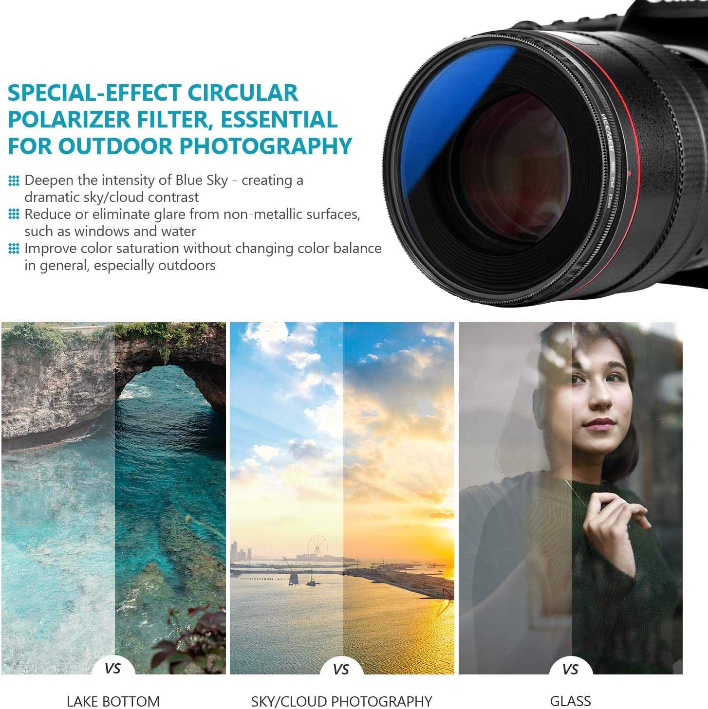Neewer 52MM Circular Polarizing Filter Optical Glass High-definition Aluminum Alloy Frame Ultra Slim CPL Camera Lens Filter Glare Eliminating for Sky//Cloud//Water//Window Photography Multi-coated