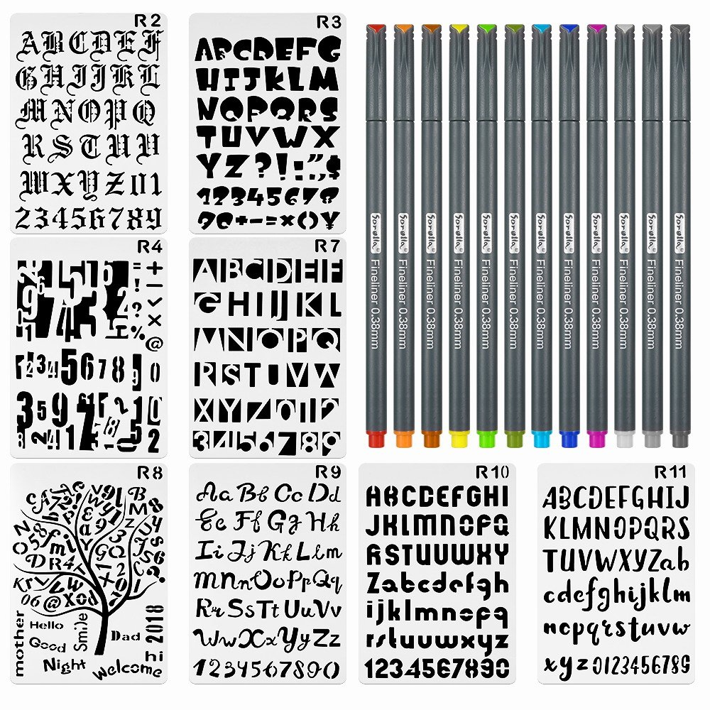 8 Pieces Letter and Number Stencils Alphabet Stencil Plastic Planner Supplies Template for Planner/Notebook/Scrapbook Craft Painting Drawing 10x6.8inch & 12 Color Fineliner Bullet Journal Pen cldhouse