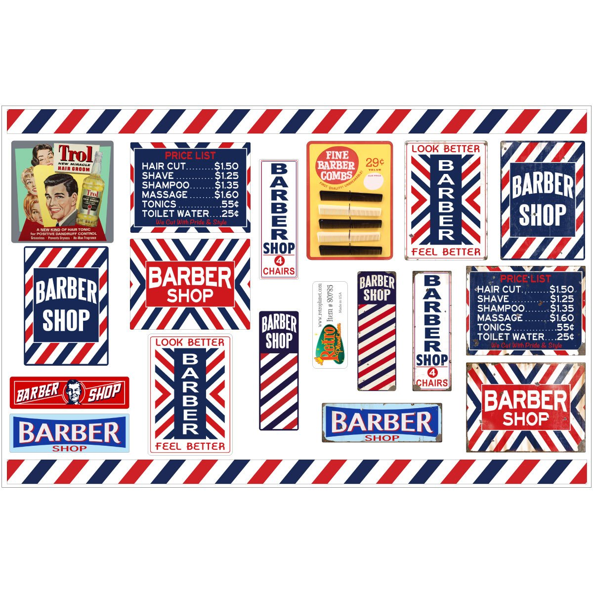 Barber Shop Haircut Vinyl Sticker Sheet of 19 Vintage Style Decals by Retro Planet B01FT46C6M