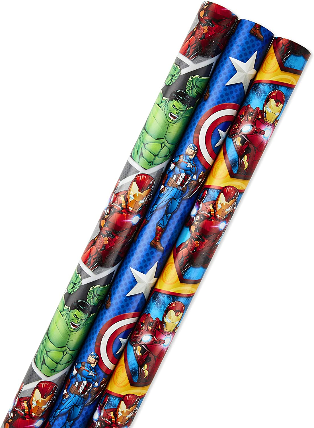 Hallmark Avengers Wrapping Paper Bundle with Cut Lines on Reverse, Black Widow, Captain America, Iron Man, Thor (Pack of 3, 105 sq. ft. ttl.) for Birthdays, Holidays, Fathers Day and More: Kitchen & Dining