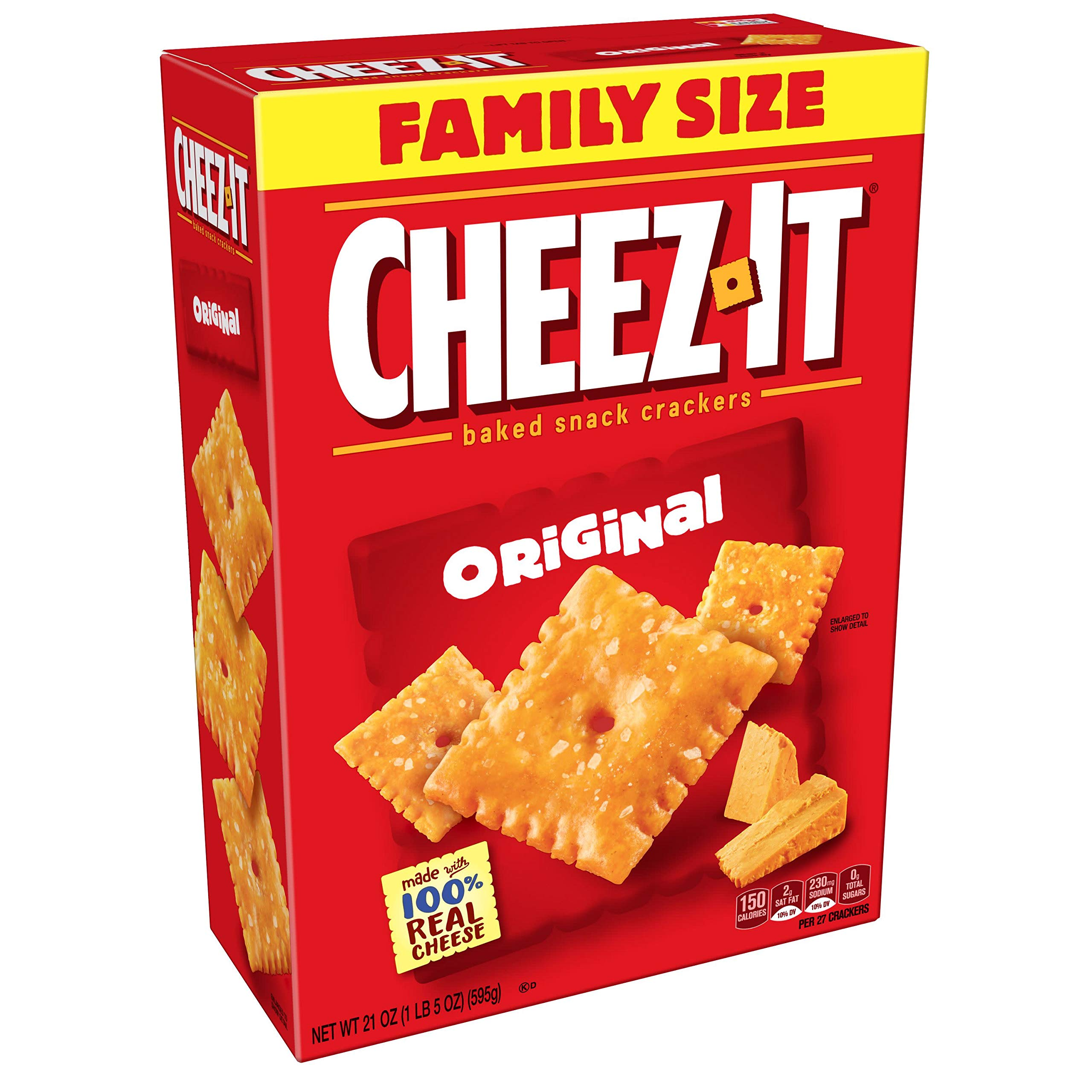 Cheez-It Baked Snack Cheese Crackers, Original, Family Size, 21 oz Box by Cheez-It