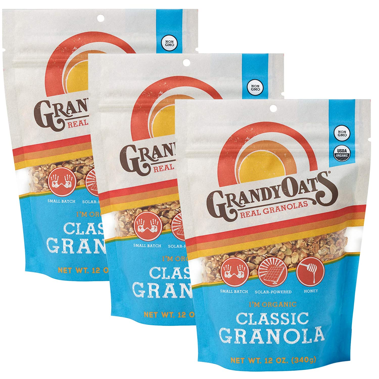 GrandyOats Classic Granola, Certified Organic Granola Cereal, Low Sugar - Made with Oats, Pumpkin Seeds, Walnuts and Cashews, 12oz Bags, Bulk Pack of 3