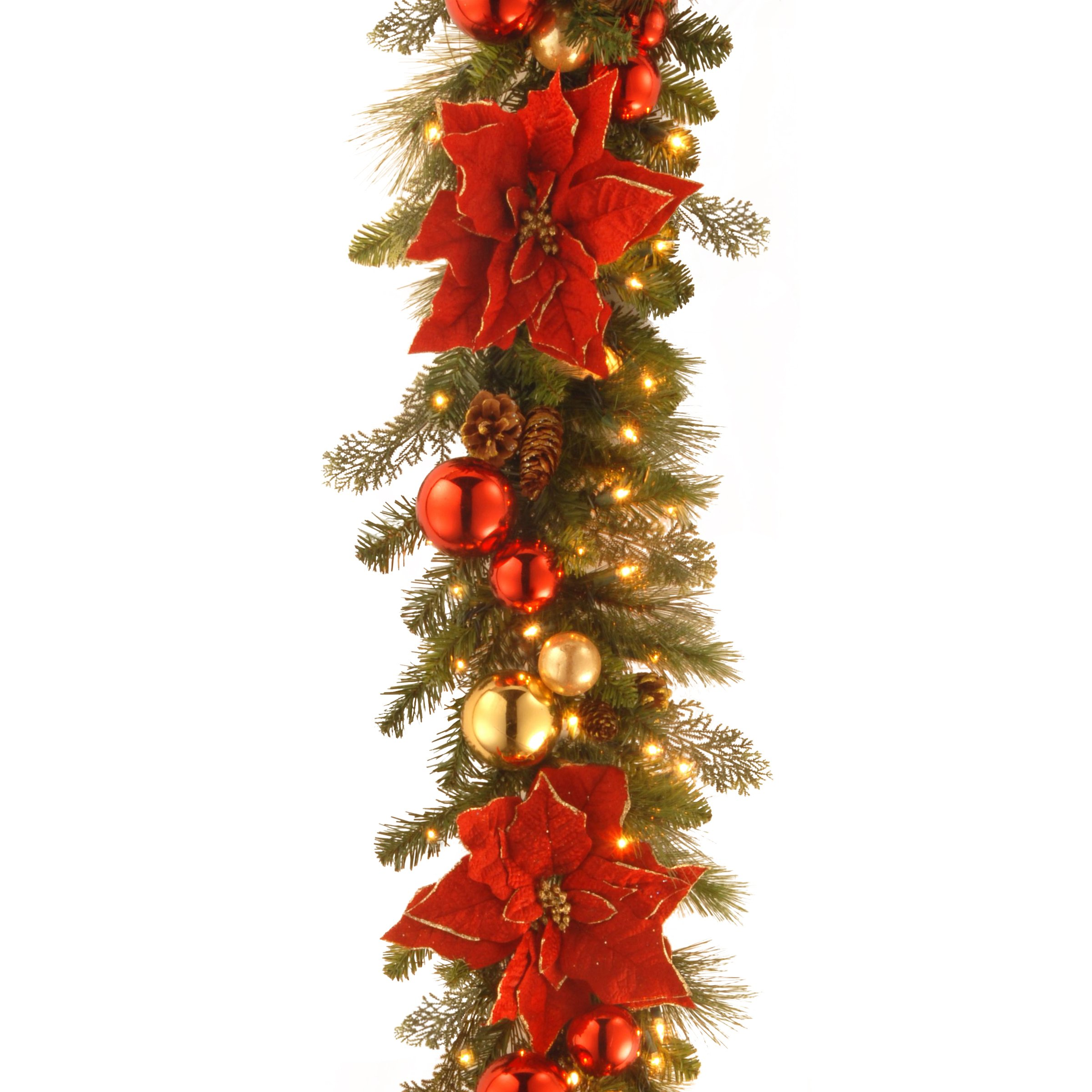 National Tree 9 Foot by 12 Inch Decorative Collection Home for the Holidays Garland with Ball Ornaments, Poinsettia Flowers, Cones and 100 Clear Lights (DC13-110L-9B-1)