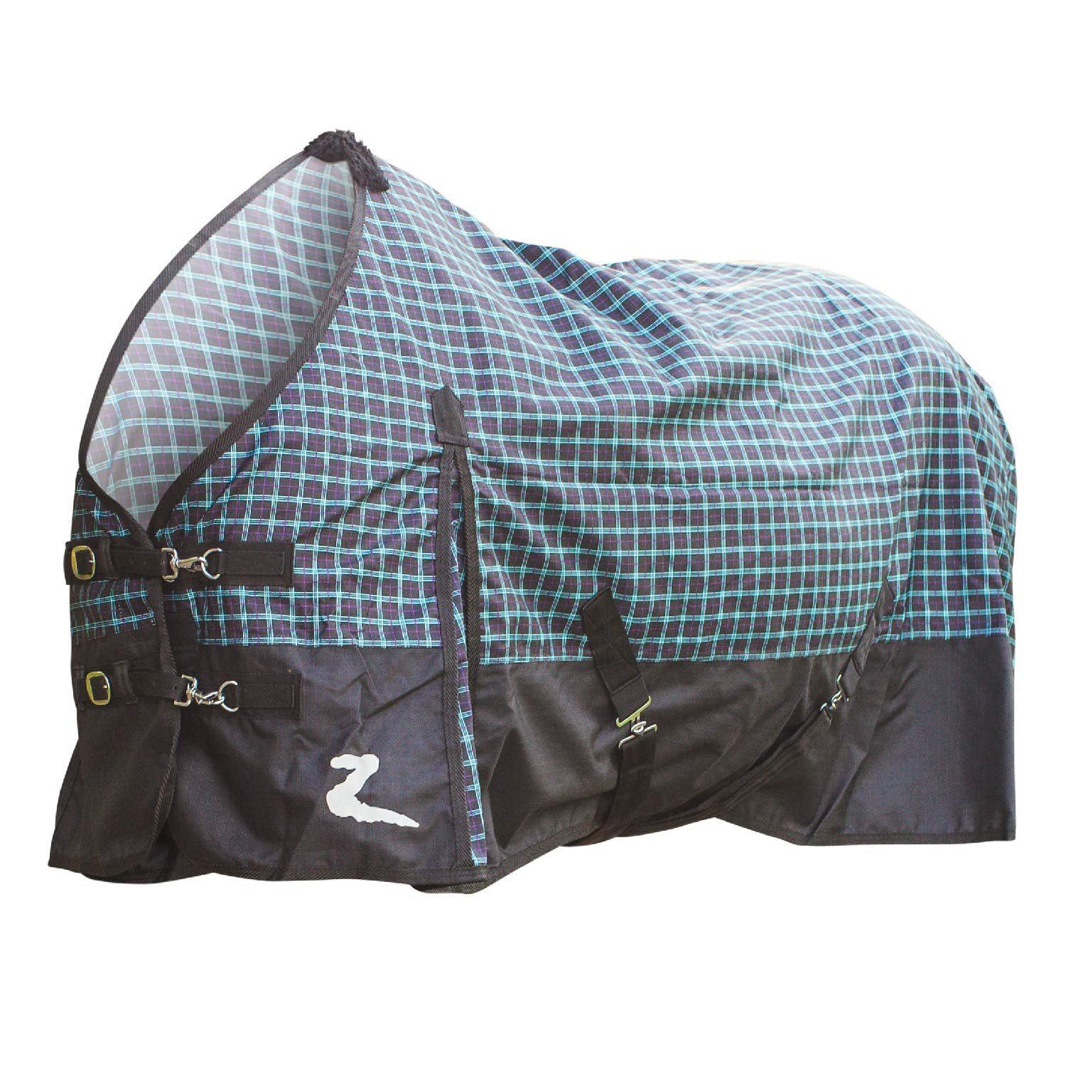 HORZE Nevada 1200D Turnout Sheet, Purple Teal Black Plaid/Black, 78 by HORZE (Image #1)