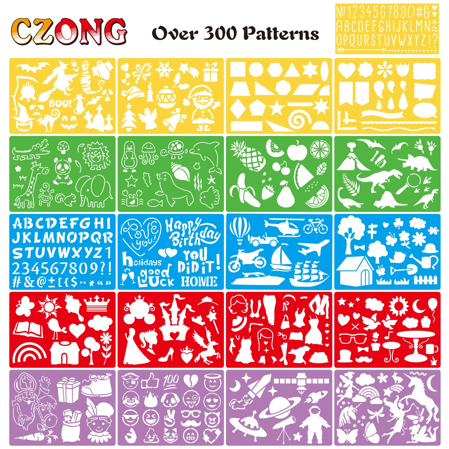 CZONG 21 Pieces Drawing Stencils Set for Kids Over 300 Different Patterns to Draw Imaginative Children's Stories , Washable Craft/Random Colors Bullet Journal Stencil with 1 Storage Bag