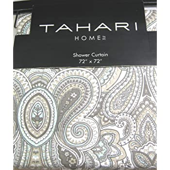 Tahari Luxury Cotton Blend Shower Curtain Gray Turquoise Taupe Grey Large Medallions Paisley Scroll Design Mackenzie