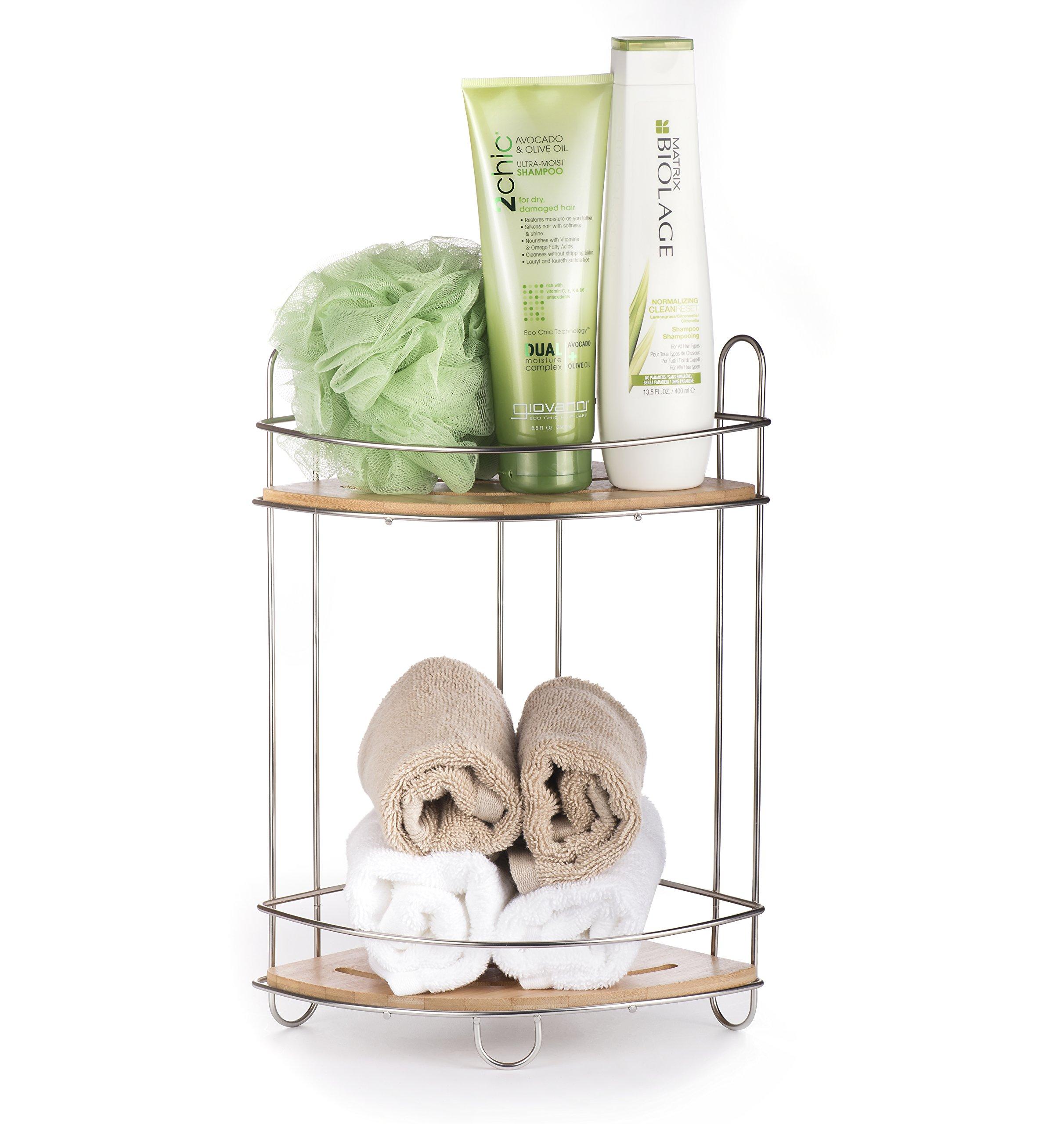 AMG and Enchante Accessories Free Standing Bathroom Spa Tower Storage Corner Caddy, FC100007 SNI, Satin Nickel