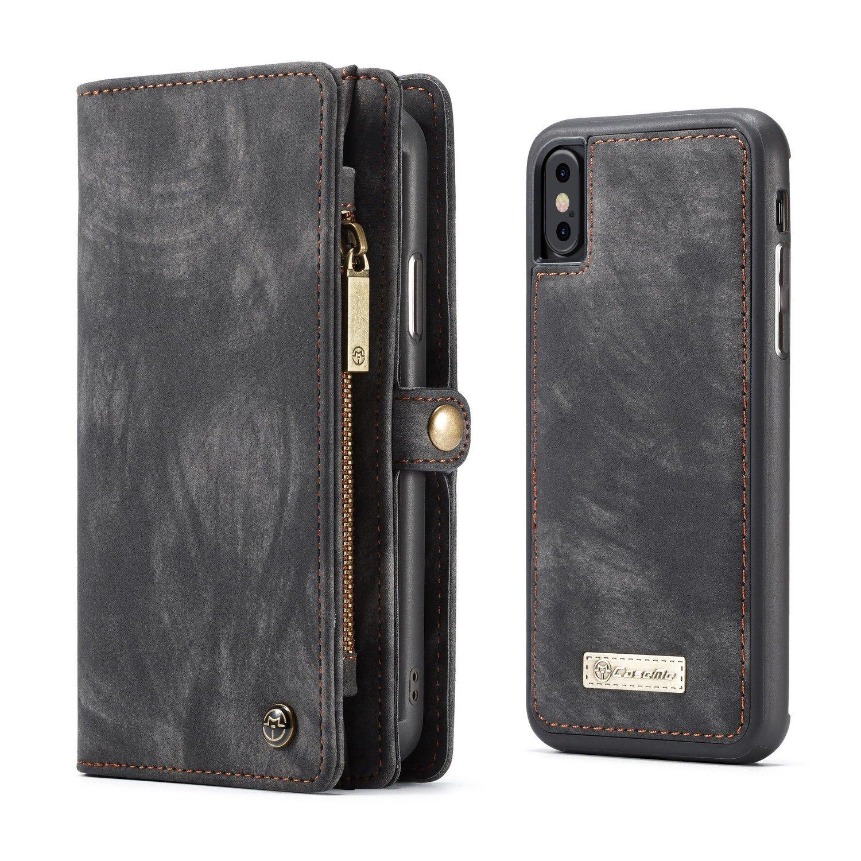 d1c2e9eb0879 KONKY Caseme iPhone Xs Max Wallet Case, Magnetic Detachable Removable Phone  Cover Pouch Folio Durable Leather Purse Flip Card Pockets Holder Bag ...