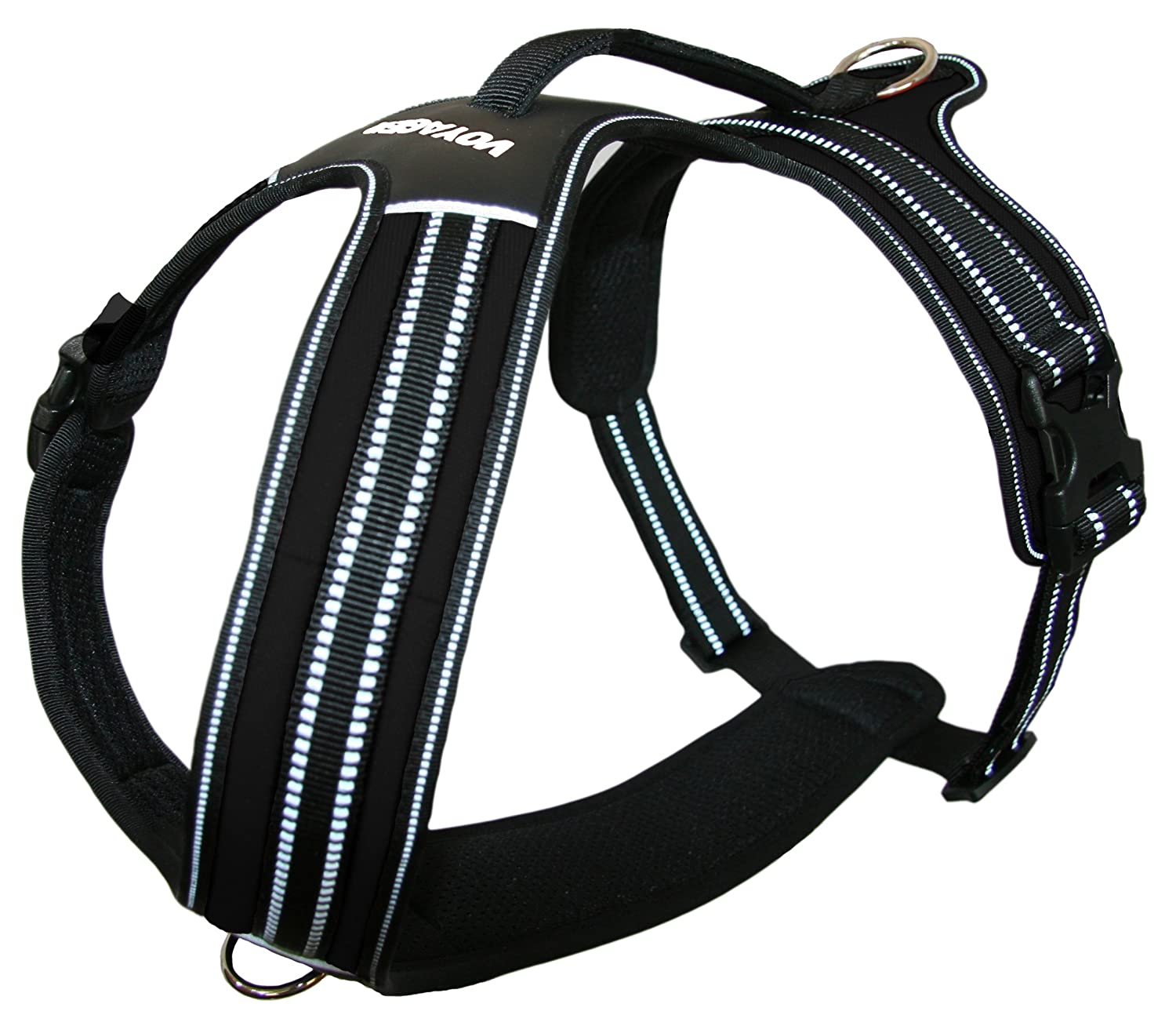 Black Small Black Small Voyager No Pull Harness Dogs w Two Leash Attachment Rings Heavy Duty Design- Reflective Walking Harnesses (Black Small)