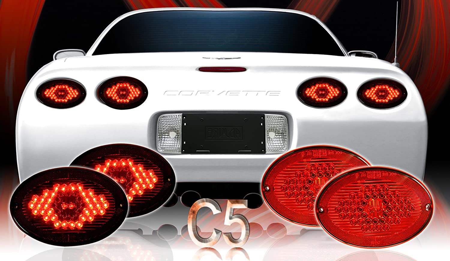 Amazon.com: Adjure CV103-4 Corvette C5 Max Red LED Tail Light Kit: Automotive