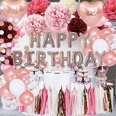 Amazon.com: Rosa oro rosa cumpleaños fiesta decoraciones ...