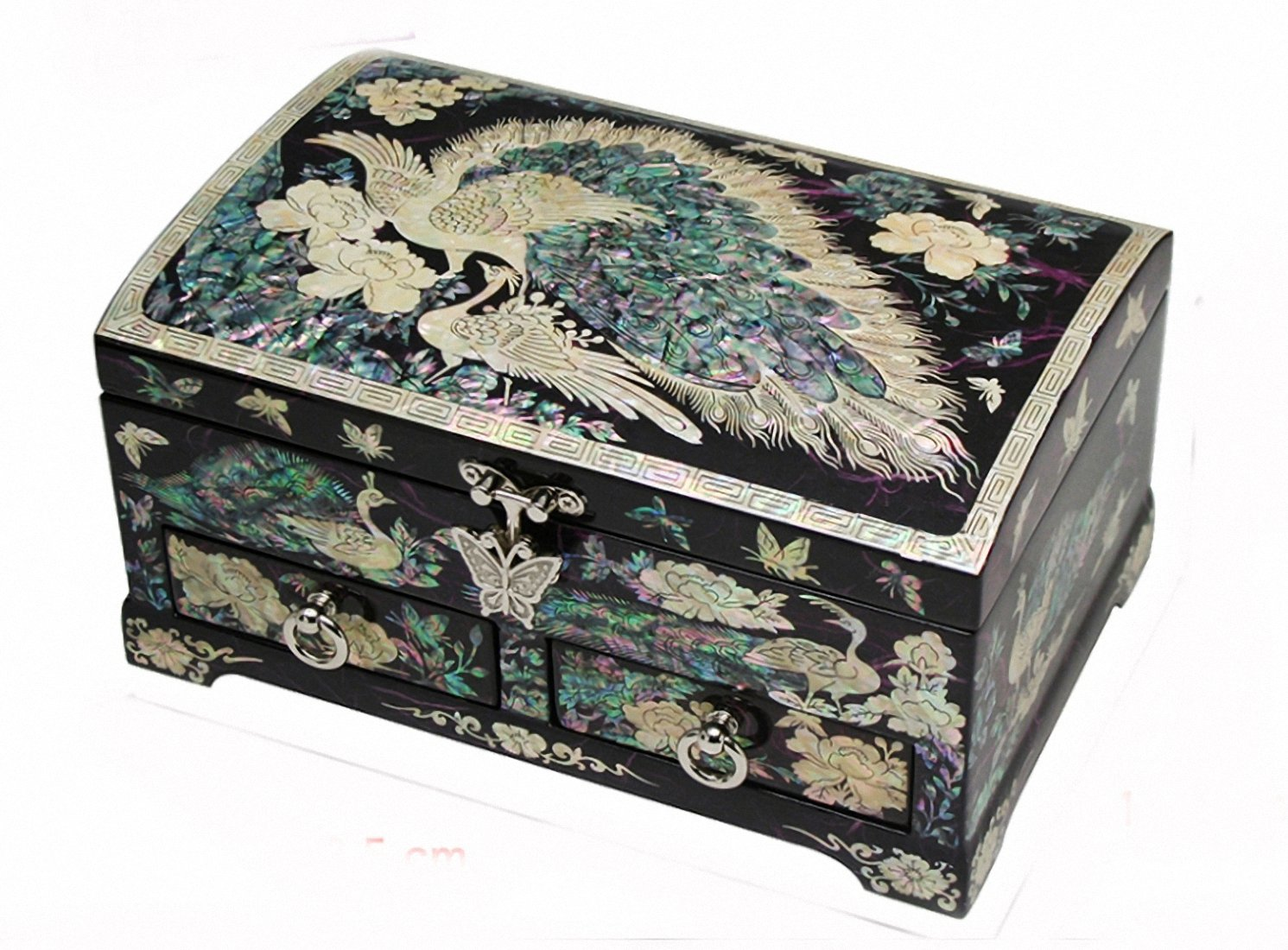Mother of Pearl Asian Lacquer Wooden Red Peacock Bird Jewelry Case Trinket Keepsake Treasure Gift Box Organizer (PURPLE)