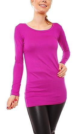 38921c169571 Easy Young Fashion Damen Langarm Basic Longshirt Rundhals Uni  Amazon.de   Bekleidung
