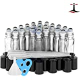 24 Glass Clear Essential Oils Roller Bottles Refillable 10 ml Roll On Perfume/Aromatherapy/Organic Beauty Bottles with Stainless Steel Roller Balls & Cap (3) 3 ml Droppers (1) Funnel (1) Opener