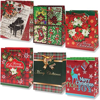 Amazon Com 12 Christmas Large Gift Bags Bulk Holiday Assortment With Handles And Tags For Wrapping Gifts For Women And Kids By Gift Boutique Health Personal Care