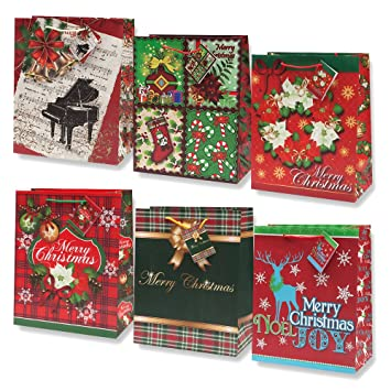 12 large christmas gift bags bulk assortment with handles and tags for wrapping holiday gifts for