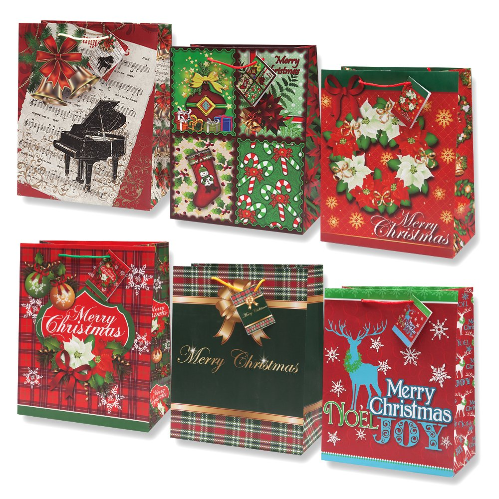 Amazon.com: 12 Large Christmas Gift Bags Bulk Assortment with ...