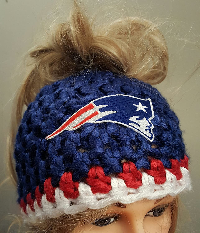 Amazon.com  Crochet Patriots Bun Hat  Handmade 98ede43bd77