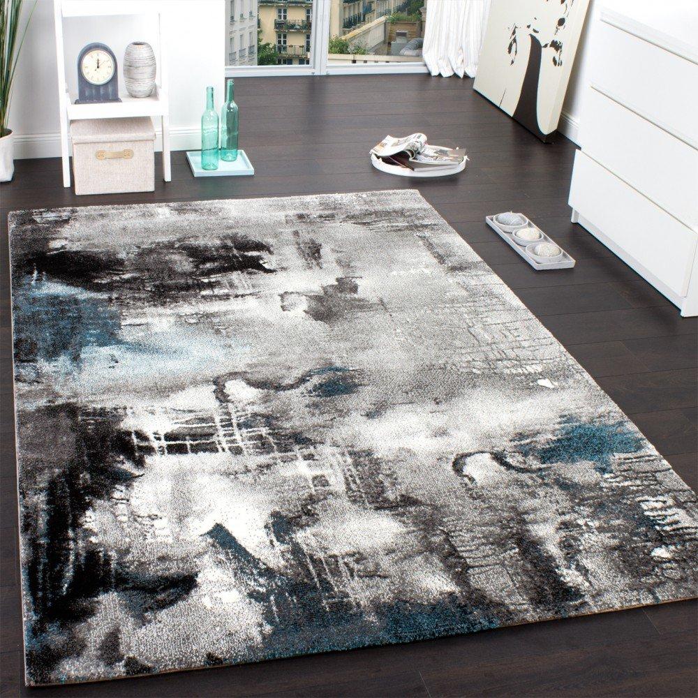 PHC Teppich Modern Designer Teppich Leinwand Optik Meliert Grau ...