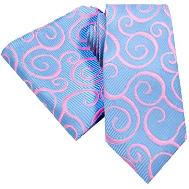 c69e18813c0d BRIGHT PINK SWIRL ON A BABY LIGHT BLUE BACKING PAISLEY FLORAL TIE AND  HANDKERCHIEF HANKY SET ...