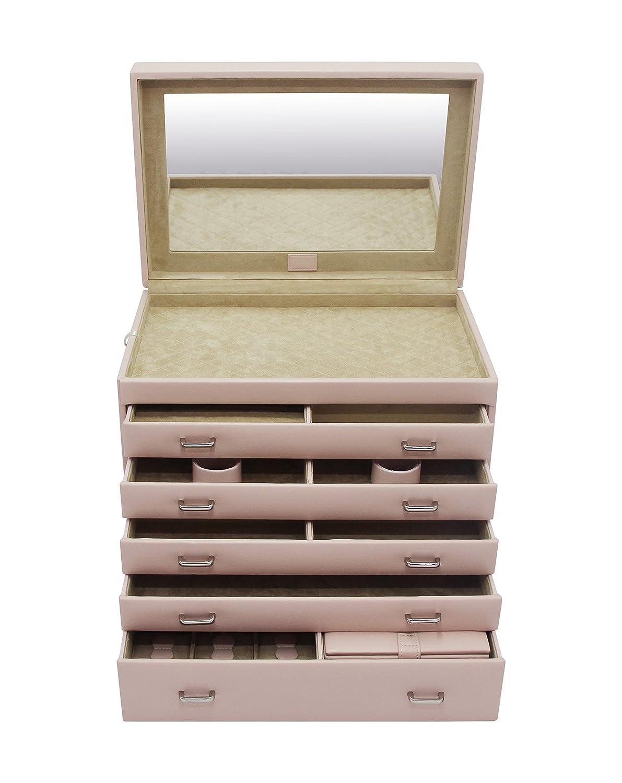 CORDAYS - Joyero Señora Completo Deluxe 5 Cajones y Estuche de Viaje Bodas y Novias. Caja organizadora Grande de Joyas Hecha a Mano Color Rosa CDL-10057
