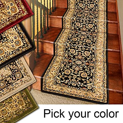 Amazon Com Marash Luxury Collection 25 Stair Runner Rugs Stair Carpet Runner With 336 000 Points Of Fabric Per Square Meter Black Kitchen Dining