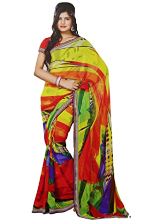 32bb4409b2 Indian Costume Georgette Sari Floral Print Bollywood Sarees Ethnic Wear:  Amazon.co.uk: Clothing