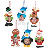 """12 ~ Christmas Character Photo Frame Ornament Craft Kits ~ Foam Stickers ~ Approx. 6 1/2"""" - 7 1/2"""" with a 2 3/4"""" Photo Space ~ New / Individually Packaged"""
