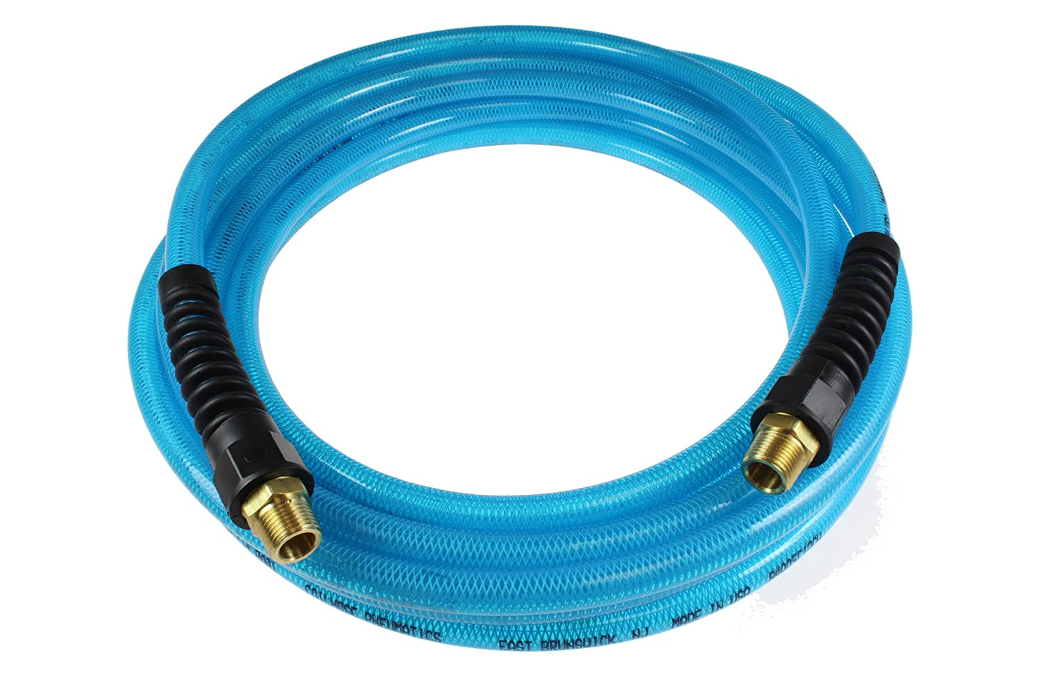 Coilhose Pneumatics PFE60254T Flexeel Reinforced Polyurethane Air Hose, 3/8-Inch ID, 25-Foot Length with (2) 1/4-Inch MPT Reusable Strain Relief Fittings, Transparent Blue