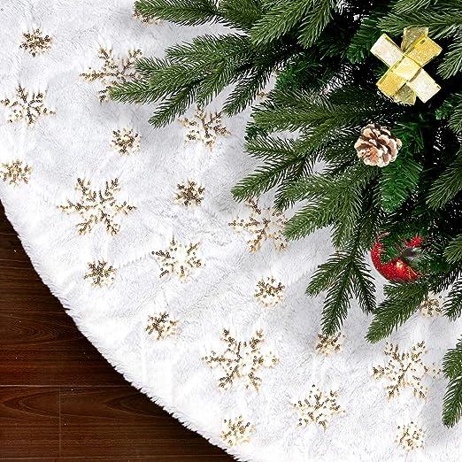 SAVITA 122cm Árbol de Navidad Falda - Alfombras para Árbol de ...