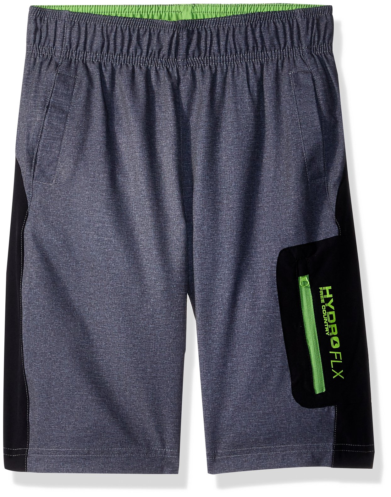 Free Country Big Boys' Textured Swim Shorts, Gray, M (10/12)