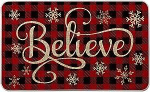 Artoid Mode Buffalo Plaid Snowflake Believe Decorative Doormat, Seasonal Winter Christmas Holiday Low-Profile Floor Mat Switch Mat for Indoor Outdoor 17 x 29 Inch