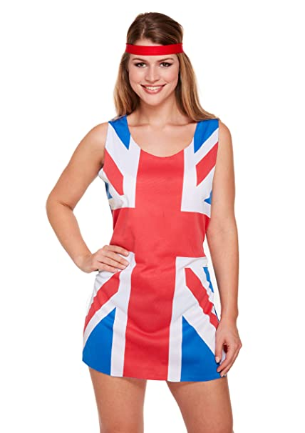 quality design ever popular picked up FNA Fashions Adults Ladies 90s Union Jack Fancy Dress Costume ...