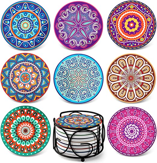 Amazon.com: Teivio Absorbing Stone Mandala Coasters for Drinks ...