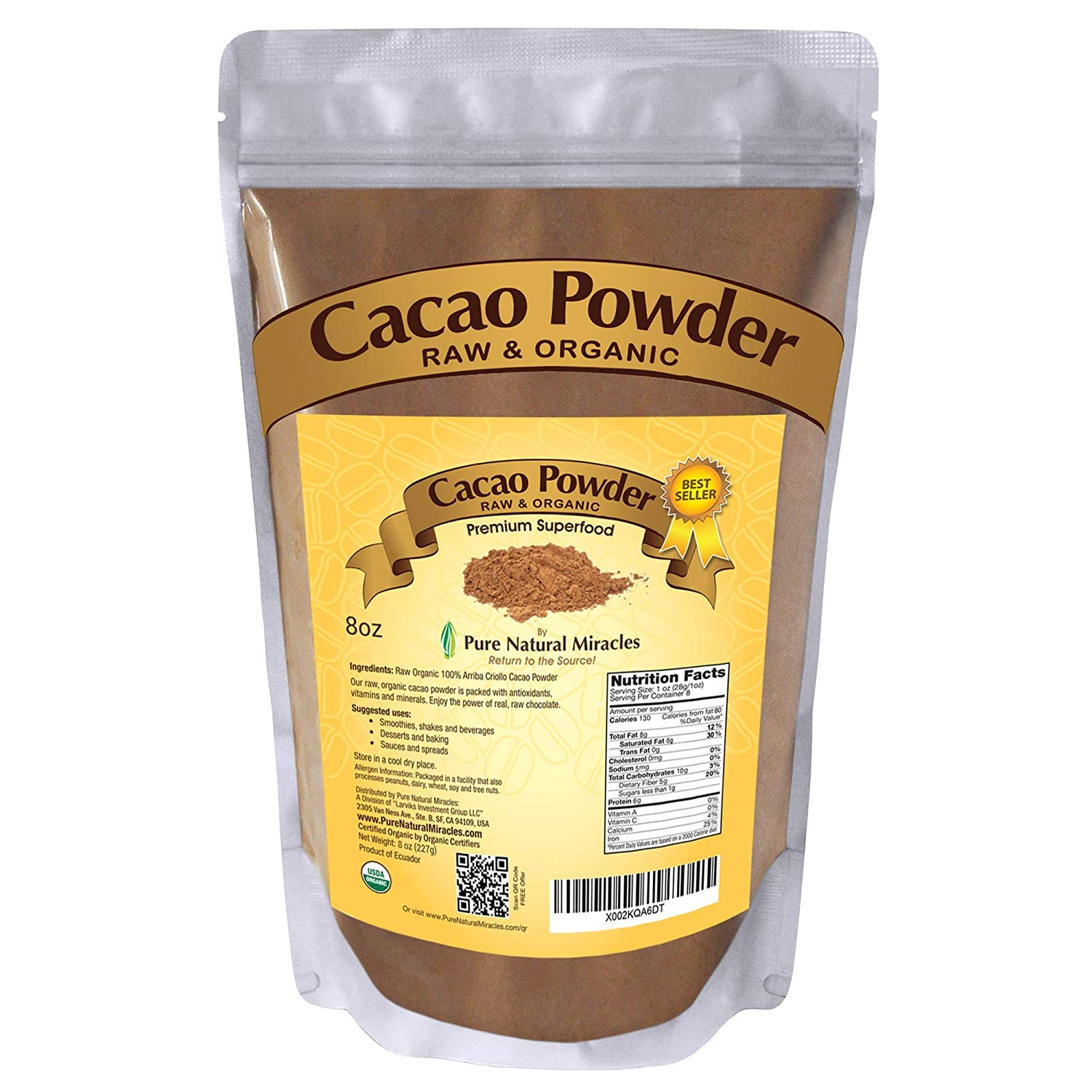 PURE NATURAL MIRACLES Organic Cacao Powder Unsweetened Raw Cocoa 8 oz